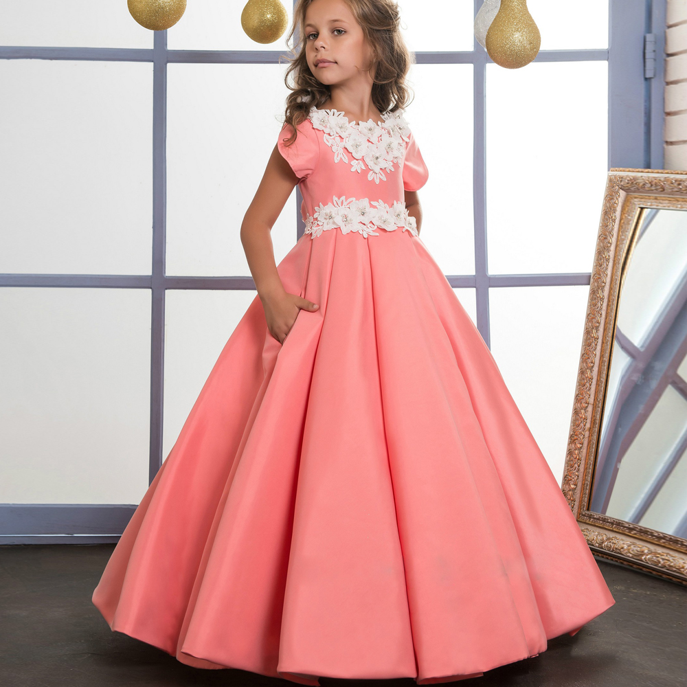 Pink Flower Girl Dress for First Communion Lace Appliques Short Sleeves Floor length Ball Gown 0-12 Years Old