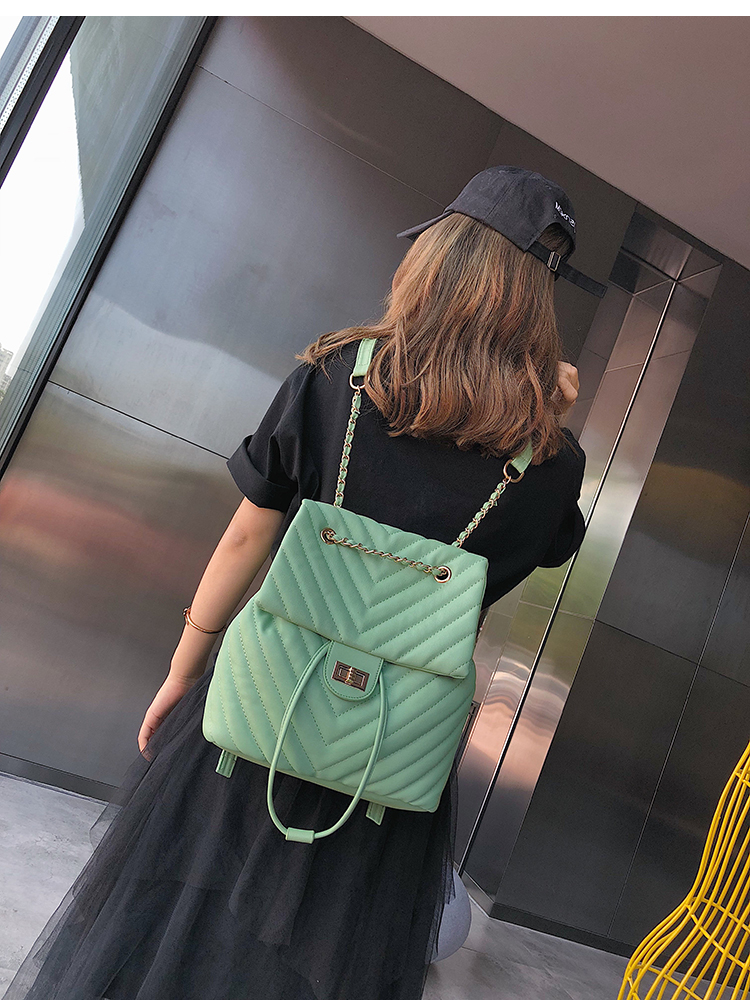 qualidade de couro macio mochila feminina corrente
