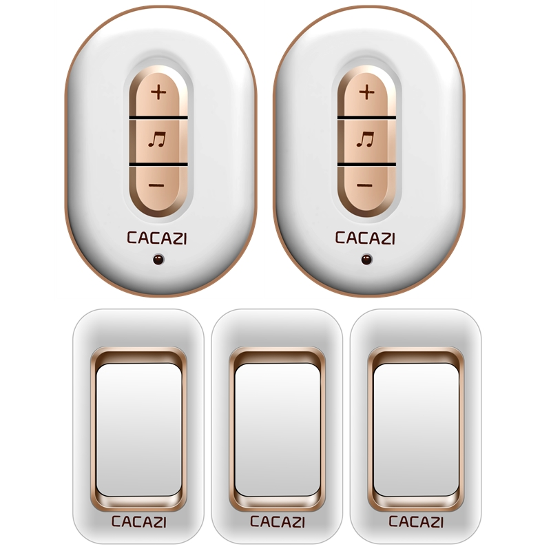 CACAZI AC 110-220V waterproof 300M remote home wireless doorbell,3 transmitters+2 receivers 48 melodies 6 volume door chime cacazi a9 3 ac 75 250v wireless doorbell 1 waterproof button 3 receivers 52 ringtones 4 volume 300m remote electronic doorbell