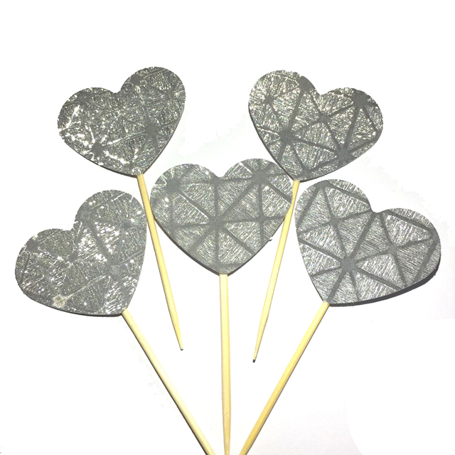 20pcs 37mm big heartshaped silver cupcake toppers glitter party supplies birthday wedding new years