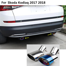 Car styling cover muffler outside end pipe dedicate stainless steel exhaust tip tail molding For Skoda kodiaq 2017 2018 2019