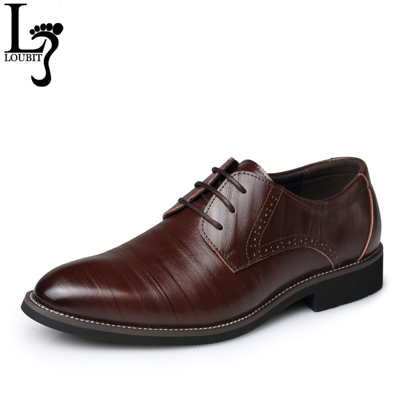 Men Dress Shoes 2017 Split Leather Men's Fashion Brogue Shoes Lace-Up Pointed Toe Male Business Wedding Formal Shoes