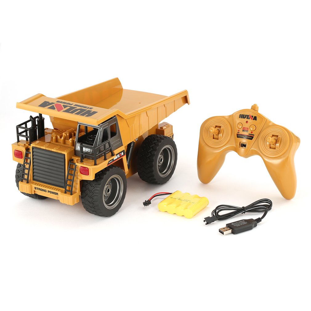 HUINA RC Truck 1/18 2.4G 6CH Alloy Version 360 Degree Rotation RC Dump Truck Construction Engineering Vehicle Kid RC Hobby Model