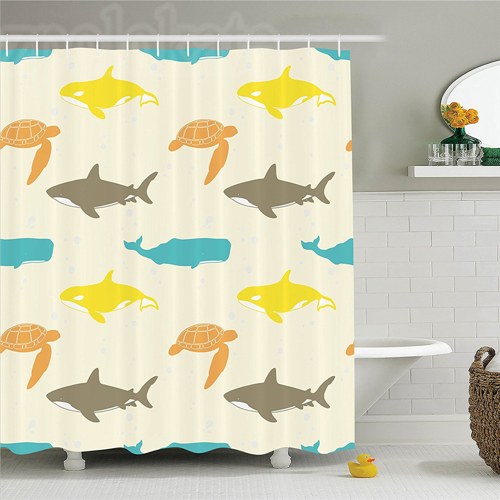 Sea Animals Decor Shower Curtain Set Pattern With Whale Shark And Turtle Aquarium Decorative Doodle Style Bathroom Accessories