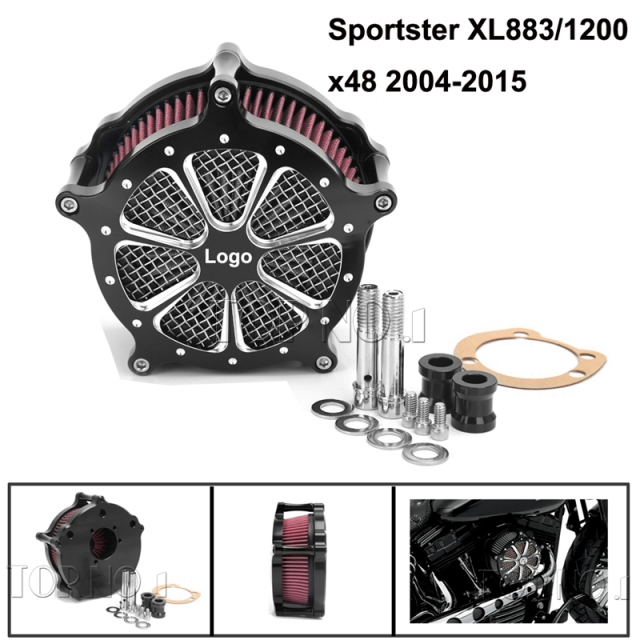 Sistema de Alumínio preto Air Filter Cleaner Intake Air Filter Cleaner Intake Para Harley Sportster XL883/1200x48 2004-2015