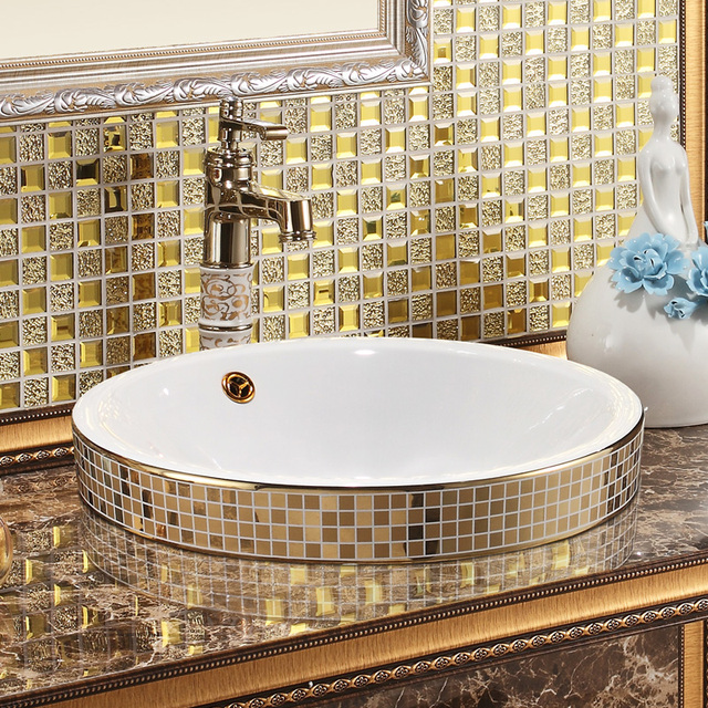 Arte ceramica ciotola lavelli per bagni Oro Mosaico di Ceramica ...
