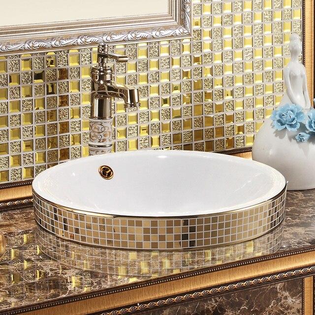 Keramische kunst wastafels voor badkamers Goud Mozaïek Keramische ...
