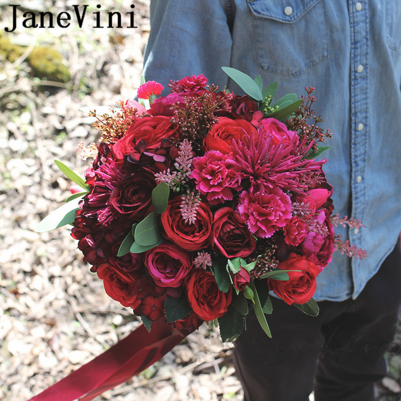 JaneVini Artificial Red Roses Wedding Bouquet Mariage Rose Fuchsia Silk Bridal Bouquets Ribbon Western Wedding Bride Flowers New