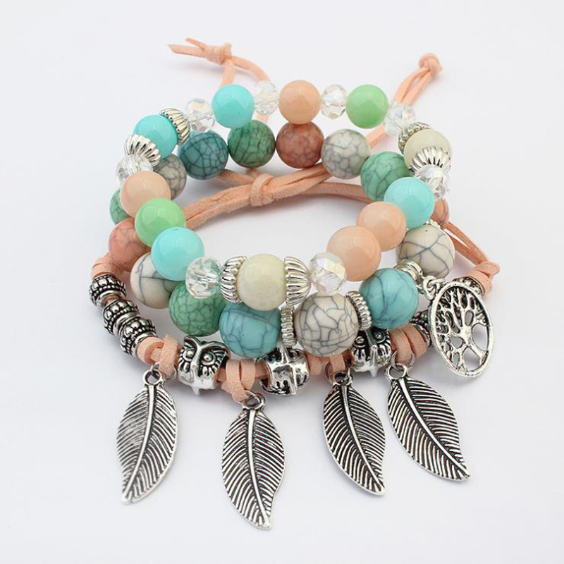 Youga 2019 Fashion Vintage Ethnic Elasticity Marble beads Bracelet Boho Statement Leaves Bangle Bracelet Women Jewelry in Strand Bracelets from Jewelry Accessories