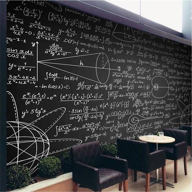 Beibehang  Large Custom Wallpaper Mathematical Formula Blackboard Mural TV Background Living Room Wall Decorative