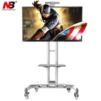 NB AVA1500 60 1P Mobile TV Cart 32 65 Flat Panel LED LCD Plasma TV Stand With Camera Tray and AV Shelf