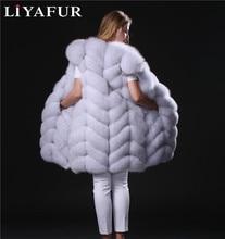 LIYAFUR Real Genuine Long Natural Thick Blue Fox Fur Sleeveless Vest Winter Full Pelt Fur Gilet Waistcoat for Women