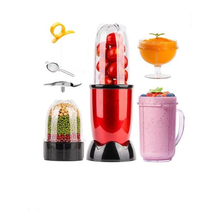 Big Sale 220V Red & Pink Color Available Electric Fruit Juicer Multifunctional Powder Grinding Machine With 4 Cups 3 Blades
