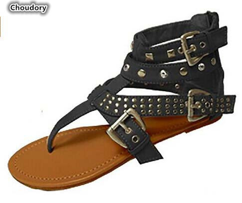 Choudory Buckle Strap Women Sandals Beach Shoes Sexy Flat Sandals Cut Out Summer Shoes New Rivets Sandalias Mujer Women Shoes