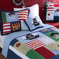 FADFAY Blue Kids Boys Dinosaur Soccer Football Quilted Bedspreads Set Cute Cartoon Cotton Quilts Set Twin Size Bed Bedding Set