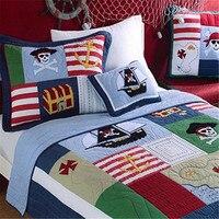 FADFAY Blue Kids Boys Dinosaur Soccer Football Quilted Bedspreads Set Cute Cartoon Cotton Quilts Set Twin