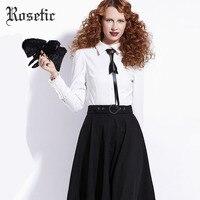 Rosetic Gothic Camisas mujeres blanco otoño solapa patchwork preppy Japón estilo moda Tops lazo bruja Vampire casual Goth Blusas