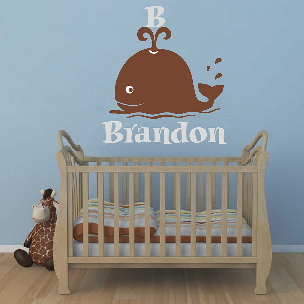 Whale Wall Decal Whale Name Decal Personalized Name Decal With Whale Nursery Wall Decor Vinyl Wall Decal Baby Shower Gift 705C