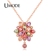 UMODE 2019 New Round Colorful Zircon Geometric Flower Pendant Necklaces for Women Fashion Rose Gold Link Chains Jewelry AUN0367