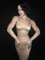 Блестят стразы длинное платье Большие камни костюм ночной клуб Stage певица Для женщин День рождения сексуальные платья DJ DS наряд