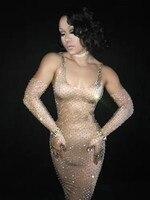 Glisten Стразы длинное платье с большими камнями костюм для ночного клуба сценический женский певец день рождения сексуальные платья DJ наряд DS
