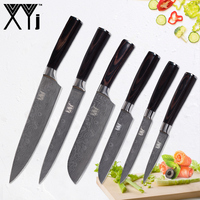 XYj Damascus Pattern Stainless Steel Kitchen Cooking Knife Set Accessories Light Weight Chef Fruit Vegatable Meat Kitchen Knife