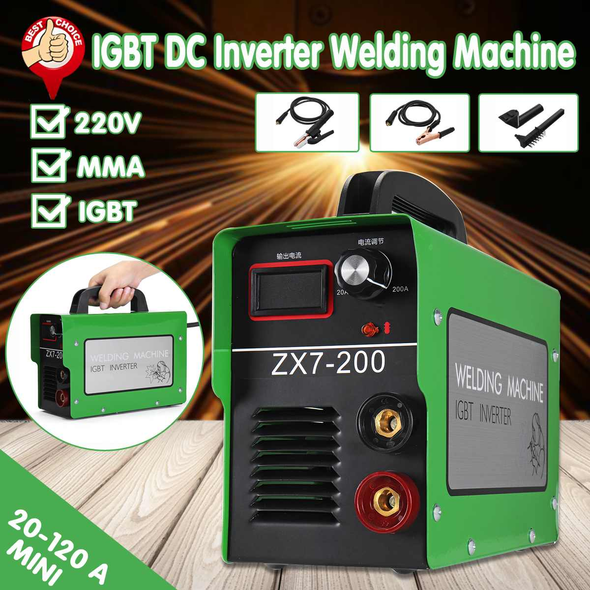 Portable EU Plug ZX7-200 4000W 3.5KVA Welding Machine IGBT Inverter Welding Tools Welding Machine AccessoriesPortable EU Plug ZX7-200 4000W 3.5KVA Welding Machine IGBT Inverter Welding Tools Welding Machine Accessories