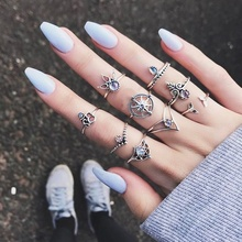 Bohemian 9pcs/Pack Vintage Crystal Rings Lucky Stackable Midi Rings Knuckle Ring Set of Rings for Women Jewelry Party