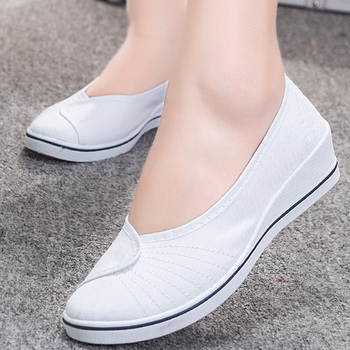 Non-slip Flats shoes women Big size 4-9 Designer Nurse Shoes Woman Shallow Cotton Fabric Slip on Cheap Boat shoes for Ladies