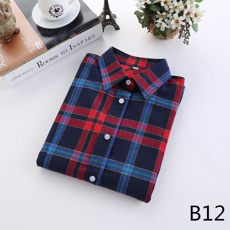 2018 Fashion Plaid Shirt Female College Style Women's Blouses Long Sleeve Flannel Shirt Plus Size Casual Blouses Shirts M-5XL 24