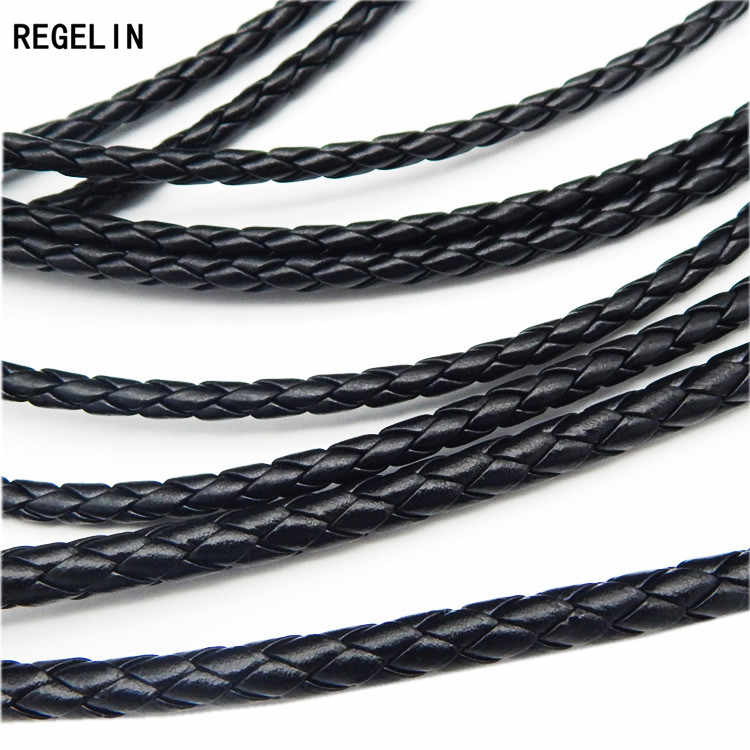 REGELIN 5meter Black Braided PU Leather Bracelet Findings 3/4/5/6mm Round Leather Cord String Rope DIY Necklace Bracelet Making