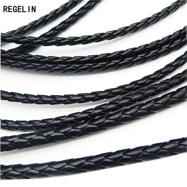 REGELIN 5meter Black Braided PU Leather Bracelet Findings 3/4/5/6mm Round Leather Cord String Rope DIY Necklace Bracelet Making artificial leather rope round collarbone necklace