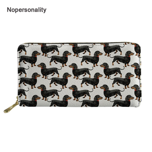 Nopersonality Cute Dachshund Dog Print Leather Wallet Long Zipper Coin Purse for Women Lovely Female Ladies Clutch Hand Bags(China)