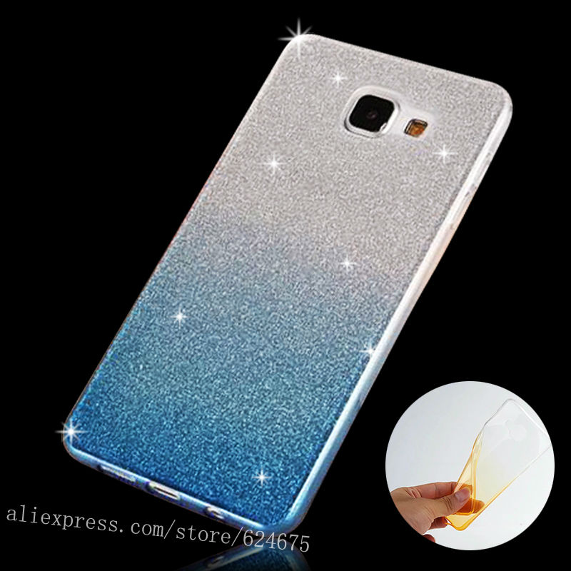 For Samsung A5 (6) Gradient Color Soft Clear TPU Case For SAMSUNG Galaxy A5 2016 A510 NEW Glitter Powder Gel Silicon Phone Cover