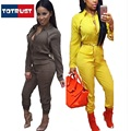 rompers womens jumpsuit 2016 sexy deep long-sleeved leotard zipper lapel waist tooling piece pants bodysuit women jumpsuit