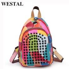 Westal натуральная кожа женщины рюкзак заклепки украшения школьная сумка кожаный рюкзак для ноутбука женские туристические рюкзаки Bolsa feminina