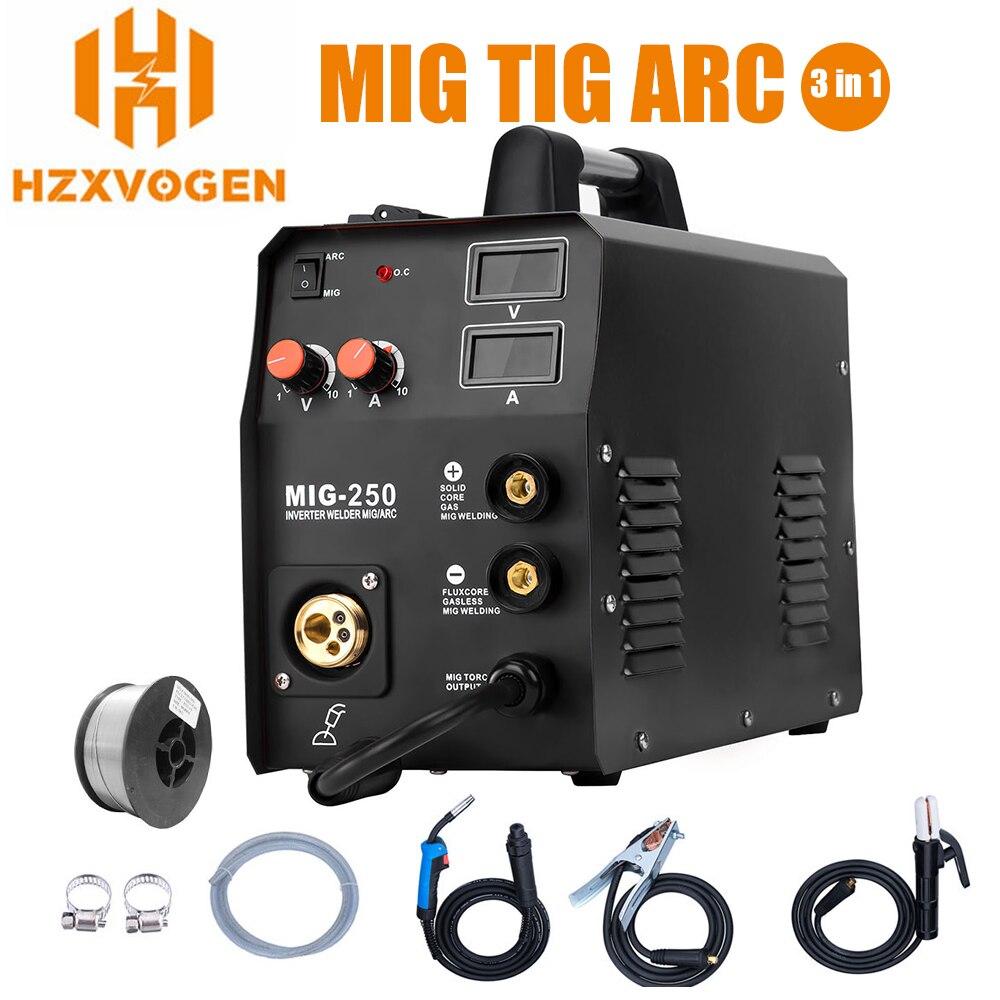 HZXVOGEN 220V New Arrival Mig Welder MIG250 MIG TIG ARC 3 In 1 Welding Machine Gas Gasless Welder Mig Welding Machine