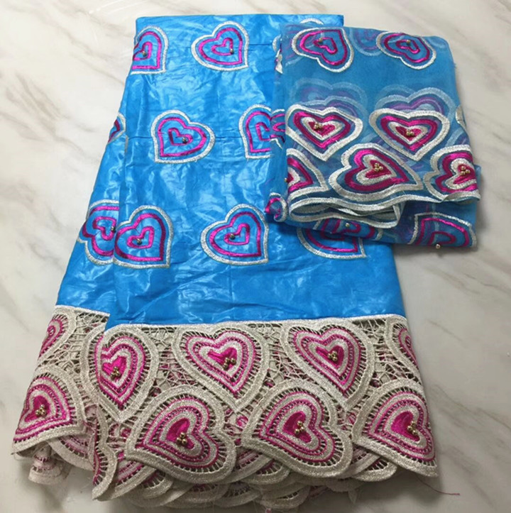 5 Yards belle recherche bleu ciel africain Bazin brocart dentelle tissu et motif coeur français net dentelle broderie pour robe BZ7-6