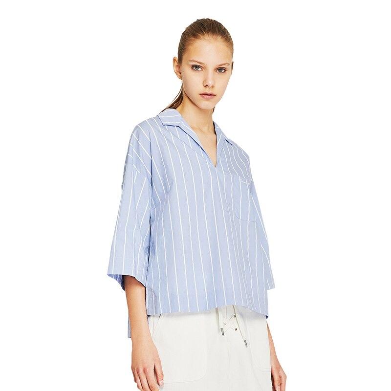 Toyouth 2018 лето синий и белый в полоску хлопковая рубашка свободная рубашка Женская Половина рукавом