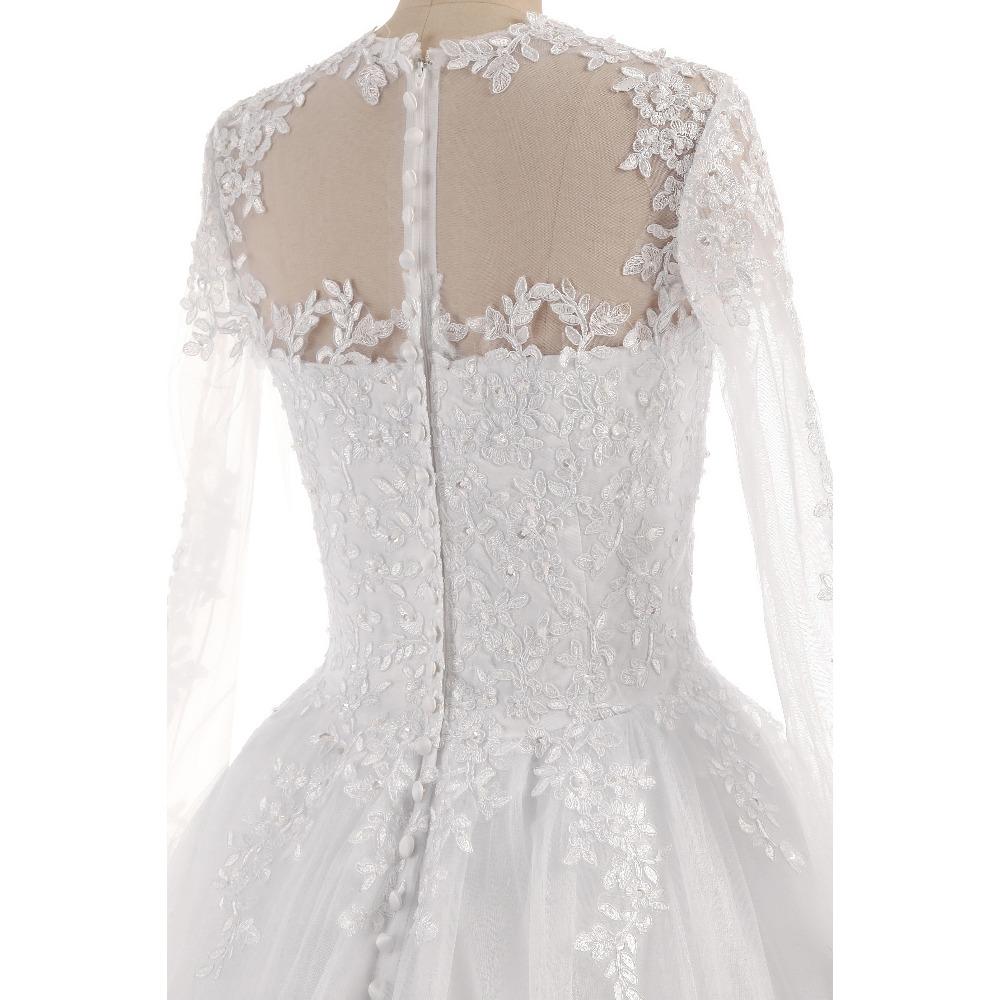 Lover Kiss Vestido De Noiva O-Neck Iusion Back Long Sleeve Wedding Dress Lace Ball Gown Wedding Gowns Custom-Made Wedding Dress 6