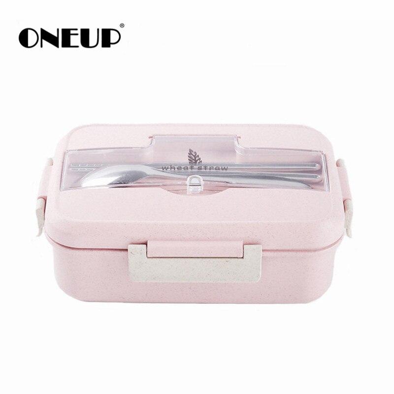 ONEUP boîte À Lunch boîte bento De paille de Blé avec vaisselle Sain SANS BPA Portable Food Container enfants l'école de pique-nique Au Micro-ondes