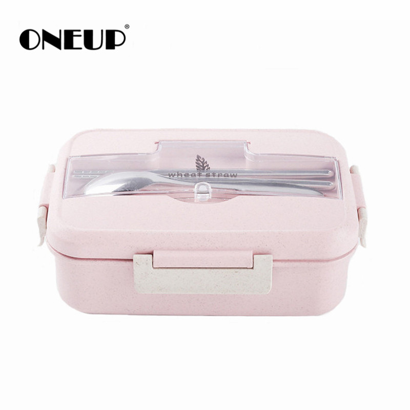 ONEUP font b Lunch b font box Wheat straw bento box with tableware Healthy BPA free