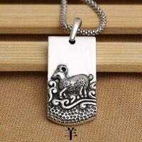 Handmade 925 Silver Sheep Pendant Sterling Silver The Chinese Zodiac Sheep Pendant 12 Animals Amulet Pendant