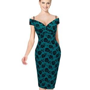 Image 2 - Güzel sonsuza kadar yeni seksi zarif katı şık rahat iş kayış Slash boyun Bodycon diz Midi kadın resmi kalem elbise b309