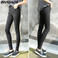 2016 Primavera New Fashion Womens Casual Estiramento Skinny Slim Leggings Tecido Costura Botão Calças Lápis Leggings Para As Mulheres Roupas