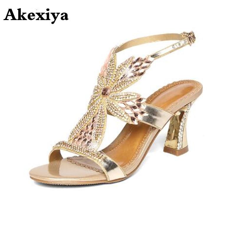 Summer new female sandals diamond stiletto heel leather sexy wedding peep toe shoes Bohemian fashion women