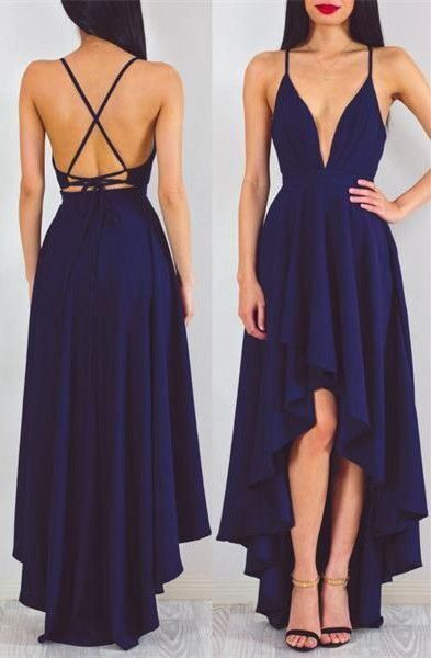 Us 121 0 Navy Blue Bridesmaid Dresses Long Chiffon Spaghetti Strap High Low Wedding Guest Gowns Formal Party Deep V Neck Bridesmaid Dress In Evening