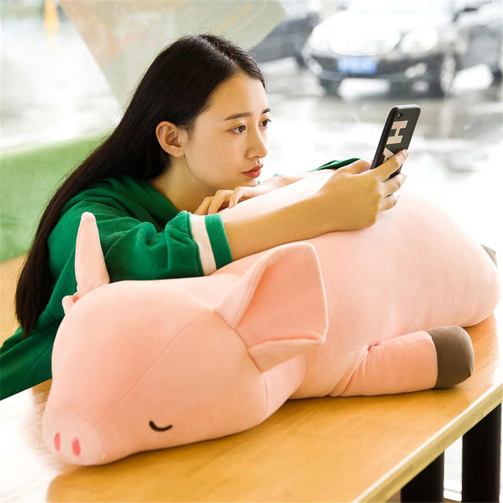 Fancytrader Large Soft Lying Pink Piggy Plush Toy Stuffed Fat Animals Pig Doll Pillow 80cm 100cm 120cm Valentine's Day Present 80cm large super cute plush toy dog bulldog husky shiba pug pillow down cotton filling as a gift to the children and friends