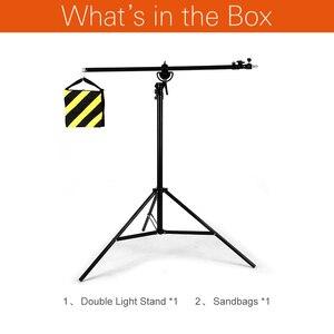 """Image 2 - Soporte de luz 2 en 1 de 126 """"y 320cm, brazo de soporte, soporte de luz de brazo de trípode ajustable de aluminio giratorio con bolsa de arena para fotografía de estudio"""