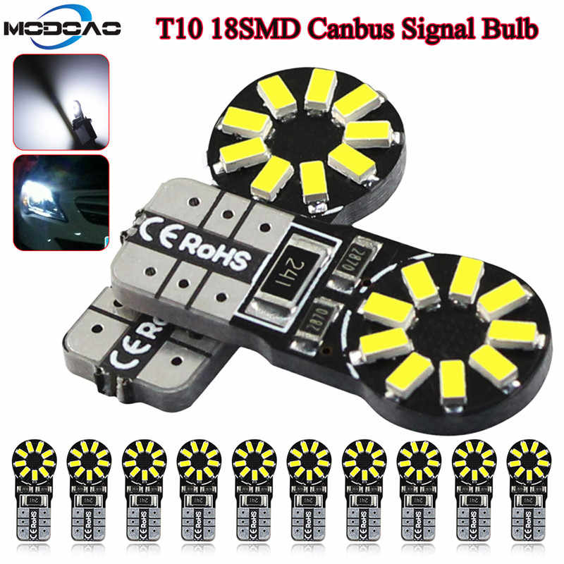 MODOAO 10pcs T10 W5W Led Car Light Bulbs 6000K 158 147 161 168 Clearance Light Break Lights Turn Signal Light Reading Door Light